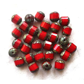 Lot of 15 Czech glass cathedral beads, opaque red with a picasso finish, 8mm octagonal faceted, firepolished, antique cut beads C5701
