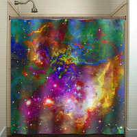 Nebula Planets Outer Space Rainbow Galaxy shower curtain bathroom decor fabric kids bath window curtains panels bathmat valance