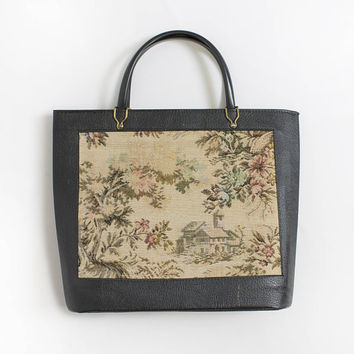 Vintage 1960s Purse - Tapestry  Needlepoint Floral Black Faux Leather Tote Bag