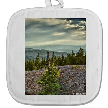 Nature Photography - Pine Kingdom White Fabric Pot Holder Hot Pad by TooLoud