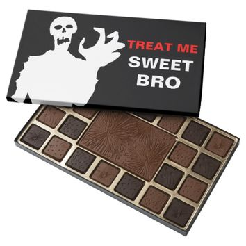 Zombie Treat Me Sweet Bro funny Halloween black 45 Piece Box Of Chocolates