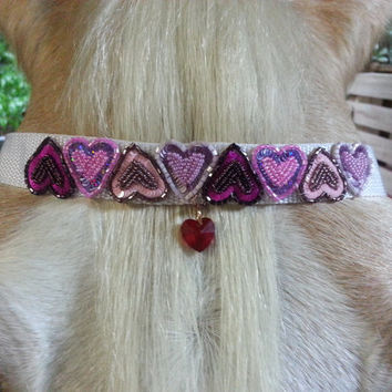 Sweet Hearts Browband for Miniature Horse, Pony, or Horse with Pink and Copper Sequins and Beads - Equine Tack Jewelry for Valentine's Day