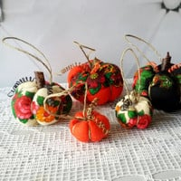 Pumpkin home decor, set of 5 Fall Autumn, Rustic Halloween, Fabric pumpkins, Halloween gift, stuffed pumpkin, Halloween toy, Russian shawl