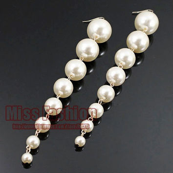 "New 2016 Trendy Created 5.5"" Big Long Drop Fashion Dangle Pearls Earrings for Women , Fashion Earrings 2014"