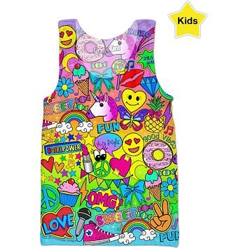 Glamour and Glitter: Colorful Pop Art Print Girl's Tank Top