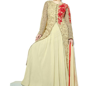 Beige and Red Net Jacket Style Suit