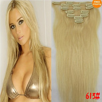 "US Stock 100% Human Hair Extensions High Quality Straight 15""18""20""22""24""26""28"" Clip In 7pcs/ set Free Shipping"