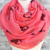 Fashion  Horse Infinity Scarf Animal Scarf Small Horse Scarves Loop Scarf Horse in Tan Shawls Christmas 2014 gift