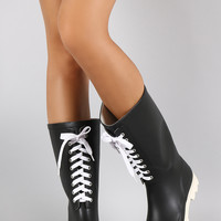 Lace Up Round Toe Rubber Rain Boots | UrbanOG