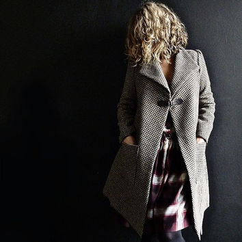 Brown/Beige Houndstooth Wool Tweed Jacket