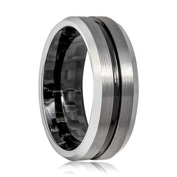 Men's Tungsten Carbide Ring With Black Grooved Center & Carbon Fiber Inside 8mm