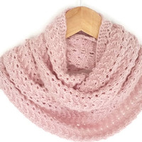 Powder Pink Infinity Scarf, Crochet, Knitting Lightweight Soft, Circle Scarf, Handknit, Women Accessories