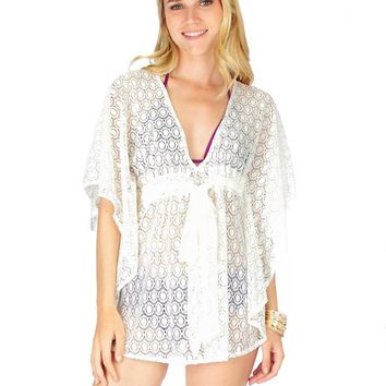 Lyss Loo Air & Sea Ivory Lace Cover-Up Top