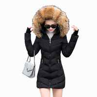 2016 New Arrival winter jacket women fashion down cotton jacket long sleeve Slim fack fur collar hooded winter coat women parka