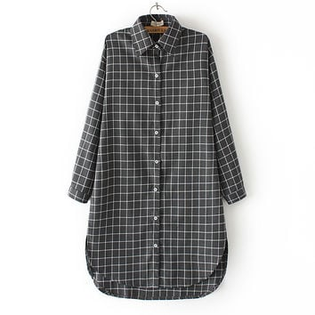 Autumn Korean Boyfriend Split Plaid Shirt Scales [6332286532]