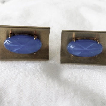Vintage Star Sapphire Cufflinks Cobalt Blue Cuff Links Mens Jewelry Classic and Elegant