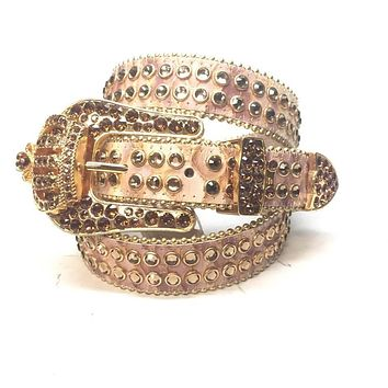 "B.B. Simon ""1/2 Thick Golden Crown"" Swarovski Crystal Belt"