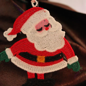 Free Standing Lace Santa Ornament