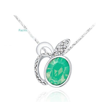 Heart Shape green topaz Crystal Large Pendant.