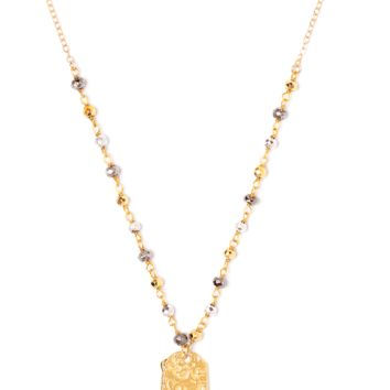 Tess and Tricia Lyra Multi Metal Beaded Chain + Penta Necklace
