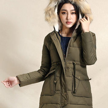 Fur hood winter jacket, Army green coat, women winter coat, cotton padded, hooded winter coat, winter outwear (ESR138)