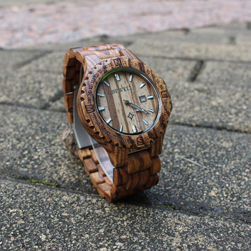 Real wood watches Engraved wooden watch waterproof watch mens watch customized gift for mens Personalized engraved watch for men Christmas