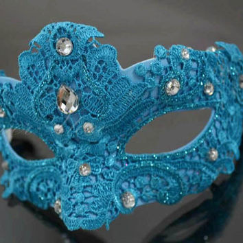 Teal Blue Masquerade Mask, Mardi Gras Mask, Prom Masquerade, Masquerade Prom, Masquerade Mask, Lace Mask, Lace Masquerade Mask