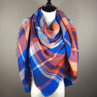 Blue and Orange Tartan Blanket/Triangle Scarf