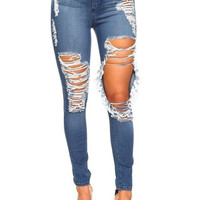 Distress High Waist Boyfriend Jeans