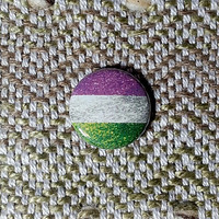 Glitter Genderqueer Flag Button or Magnet