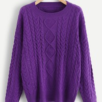 Mixed Knit Drop Shoulder Sweater