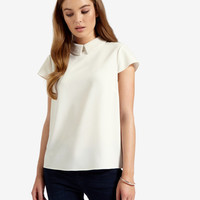 Embellished collar top - Cream | Tops & Tees | Ted Baker