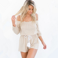 Cotton Off Shoulder Romper 9877