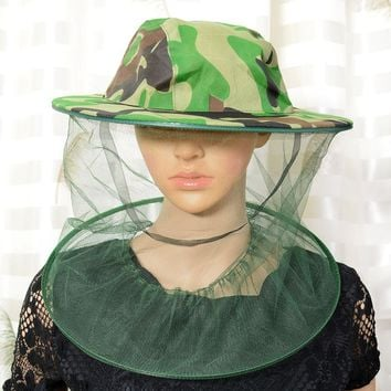 Insect Mosquito Net Mesh Face Fishing Hunting Outdoor Camping Hat Protector Cap
