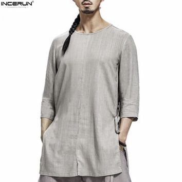INCERUN — Men's Retro Asian Style Casual Cotton Linen 3/4 Sleeve Casual Shirt