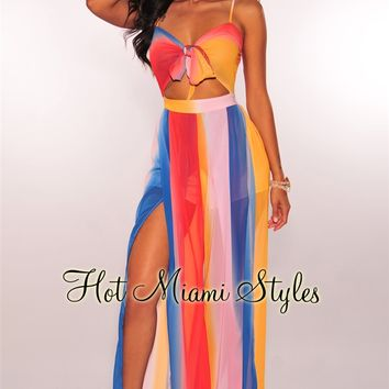 Sherbert Multi Color Tie Up Slit Palazzo Jumpsuit
