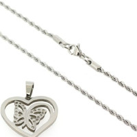 Stainless Steel Rope Necklace w/ Butterfly Heart Shaped Pendant w/ CZ Stones