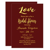 Love bridal shower burgundy faux gold letters card