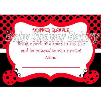 Ladybug Diaper Raffle Ticket, Printable Diaper Raffle Ticket, Ladybug Baby Shower Game, Printable Ladybug Baby Shower