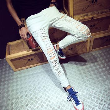 Fashion Style Personality Hole Off White Jeans Vintage Ripped Hollow Out Casual Joggers Pants For Youth And Men