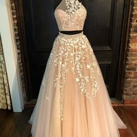 A Line Two Piece Applique Halter Long Prom Dresses