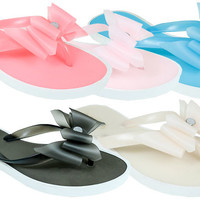 women's diamante bow jelly flip flops Case of 60