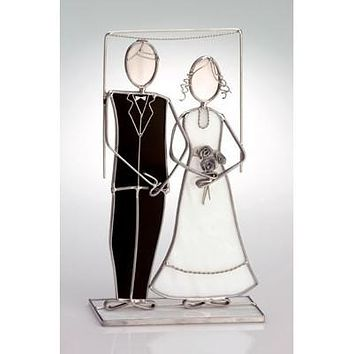 Bride & Groom Gift Mini Glass Sculpture