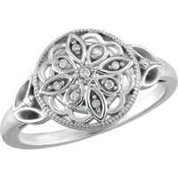 Sterling Silver .06 CTW Diamond Granulated Filigree Ring