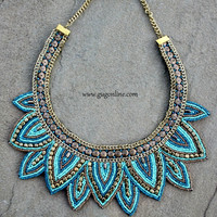 Turquoise and Gold Fancy Bib Necklace