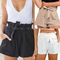 Summer New Hot 2016 Fashion Women Lady's Sexy Shorts Elastic Casual Beach Style High Waist Shorts Pocket Clothes