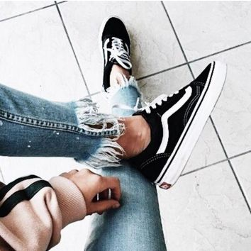 """Vans"" With Warm Casual Shoes Men and women classic black cloth shoes Black"