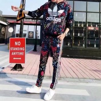 """""""Adidas"""" Women Casual Fashion Multicolor Peacock Floral Print Hooded Long Sleeve Trousers Set Two-Piece Sportswear"""
