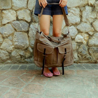 SALE - Mackenzie in Taupe Brown //Satchel / Messenger / Laptop / diaper bag / Tote / Handbag / For Him / For Her / Women