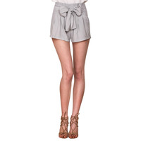High Waist Shorts Pleated Bow Cotton Shorts Casual Elegant Zipper Sashes Shorts  SN9